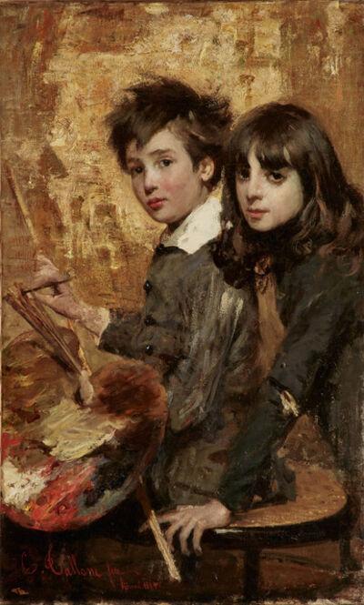 Cesare Tallone, 'Il pitlore in erba (The Budding Painter)', 1883