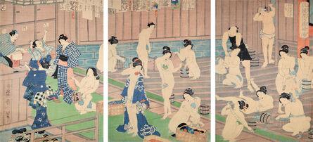 Toyohara Kunichika, 'Comparison of Nudes to Irises at the Public Bath', 1868