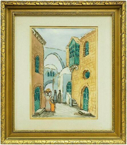 Zvi Ehrman, 'Israeli Modernist Old City Jerusalem Landscape Folk Art Watercolor Painting', Mid-20th Century