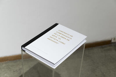 """Pablo Andino, 'Contrato de compraventa de la obra de arte """"El artista como abogado"""" (de la serie Suplementos textuales)', 2016"""