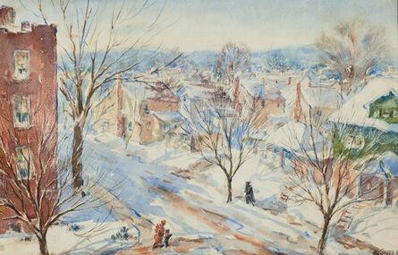 Henry Gasser, 'Newark Street Snow Scene in Sunlight with Figures', ca. 1950s-1960s