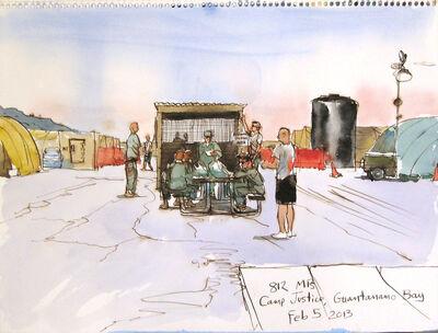 Steve Mumford, '2/5/13, 812 MPs, Camp Justice, Guantanamo Bay, Cuba', 2013