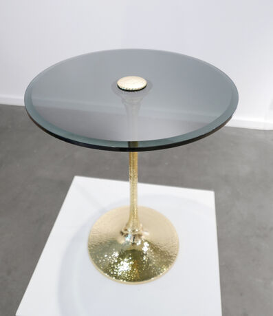 Unknown Designer, 'Brass Pedestal Table with Smoked Glass Top'