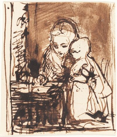 Charles West Cope, 'Woman Reading to a Child'