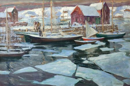Jonas Lie, 'Wharf in Winter', ca. 1920