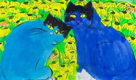 Walasse Ting 丁雄泉, 'Blue Cats, Yellow Eyes'