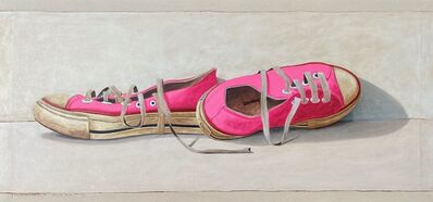 """Santiago Garcia, '""""#1361"""" oil painting of hot pink low top converse sneakers on white background', 2020"""