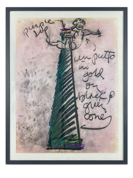 Dale Chihuly, 'Dale Chihuly Untitled Putti Vase Charcoal and Pastel Contemporary Art Drawing', C. 1997 -1999