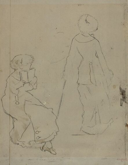 """Edgar Degas, 'Study for """"Mary Cassatt at the Louvre: The Etruscan Gallery"""" [verso]', ca. 1879"""