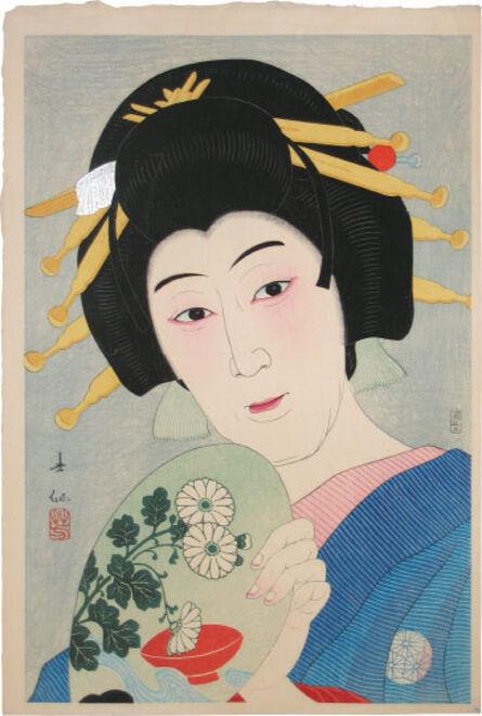 Natori Shunsen, 'Creative Prints, Collected Portraits of Shunsen: (Supplement) Actor Ogami Baiko VI as Aburaya Okon', ca. 1929-1934