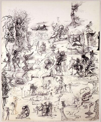 Salvador Dalí, 'PROJETS DE RIDEAAUX DE SCÈNE ET ÈTUDES PRÈ LIMINAIRES (Projects for theater curtains and preliminary studies)', 1943