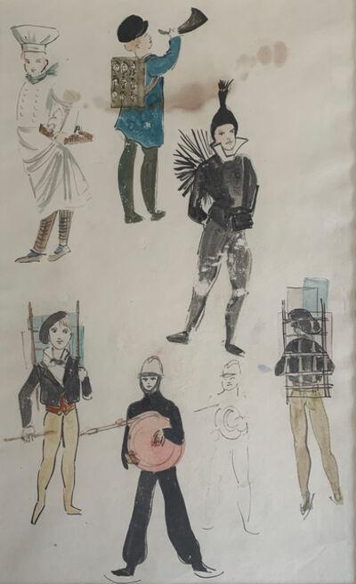 Leonor Fini, 'Costume study for six figures', 1954-1969