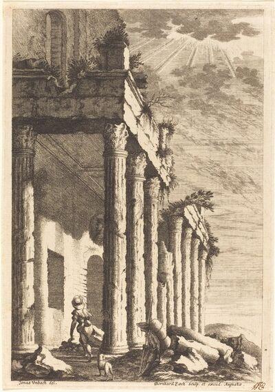 Bernhard Zaech after Jonas Umbach, 'Travelers beside a Ruined Portico', ca. 1650