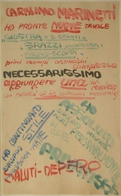 Fortunato Depero, 'Carissimo Marinetti. Saluti Depero', 1915