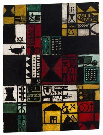 José Gurvich, 'Construcción con pareja y casa', 1950