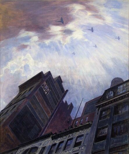 Martin Lewis, 'Biplanes over New York City. (Victory Flight WWI.)', ca. 1919