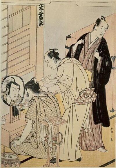 Katsukawa Shunsho, 'The actor Matsumoto Koshino applying make-up in her dressing room', 1789