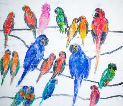 Hunt Slonem, 'Leadbeter Cockatoo (assorted colorful birds on white background with black lines)', 2020