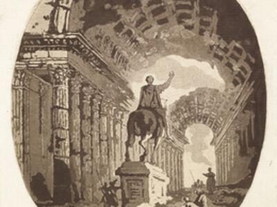 Jean Claude Richard de Saint-Non (author), '[Statue antique, sur un pi'destal, entour'e de personnages, le tout parmi des ruines]', 1766