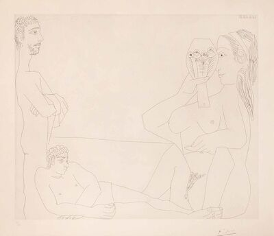 Pablo Picasso, 'At the Beach: Woman with Mirror and Two Swimmers (347 Series, B.1666)', 1968