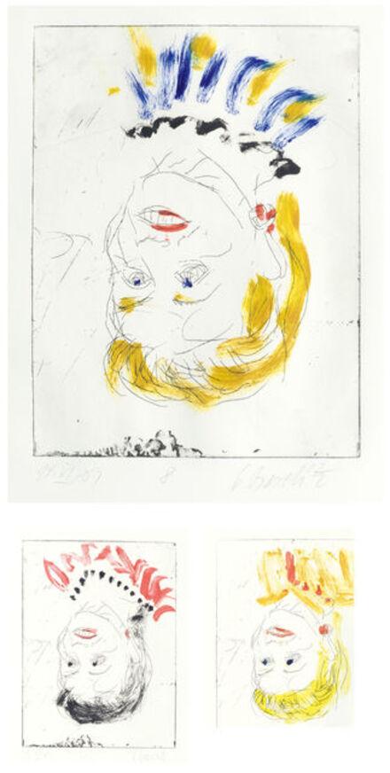 Georg Baselitz, '3 sheets.:Elke - wife', 2003