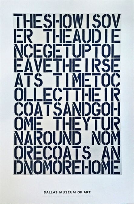 Christopher Wool, 'The Show is Over', 2000