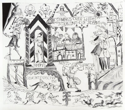 Robert McNally, 'Inselaffen(Alternative ending to the Bayeux tapestry No.1)', 2017