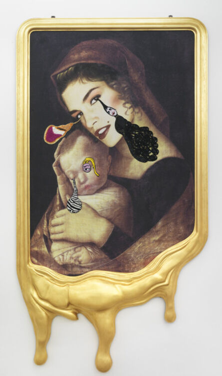 Francesco Vezzoli, 'CRYING PORTRAIT OF CINDY CRAWFORD AS A RENAISSANCE MADONNA WITH HOLY CHILD (AFTER ANDREA MANTEGNA)', 2010