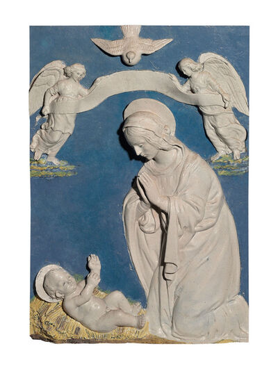 Bendetto Buglioni, 'Madonna adoring the Christ child between two angels holding a scroll'
