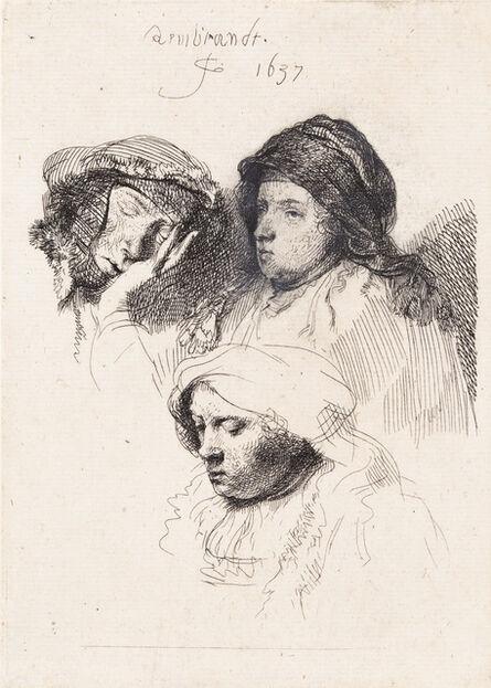 Rembrandt van Rijn, 'Three Heads of Women, One Asleep', 1637