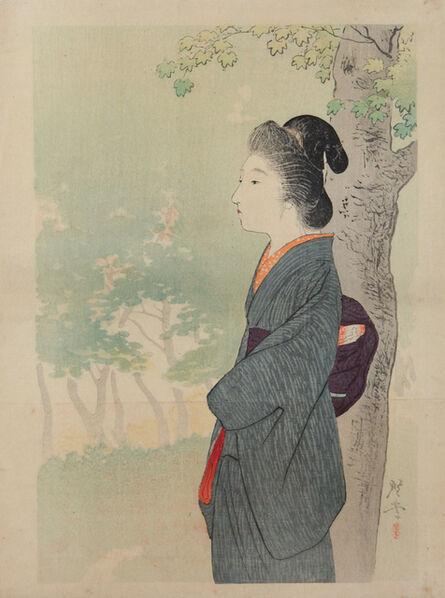 Kogyo Terasaki, 'Lady and Maple in Summer', ca. 1905
