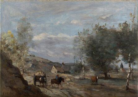 Jean-Baptiste-Camille Corot, 'Environs de Douai. Charrette en vue d'un village', 1870