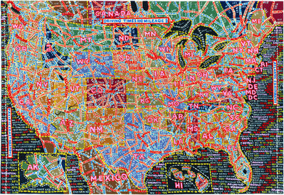 Paula Scher, 'Driving Times and Mileage', 2015