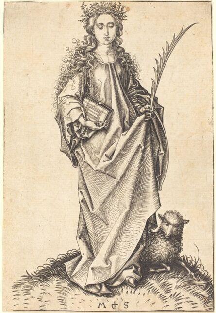 Martin Schongauer, 'Saint Agnes', ca. 1475