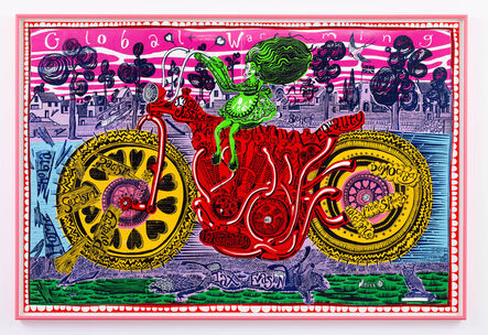 Grayson Perry, 'Selfie with Political Causes (woodcut)', 2018