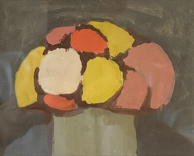 Robert Kulicke, 'Yellow, Red and Pink Flowers in a Green Vase on a Black Background', n.d.