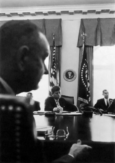 Cornell Capa, 'JFK, VP Johnson and David Bell, March 2, 1961', 1933