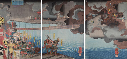 Utagawa Kuniyoshi, 'Takeda Shingen Destroys Suwa Yorishige in battle.', 1850