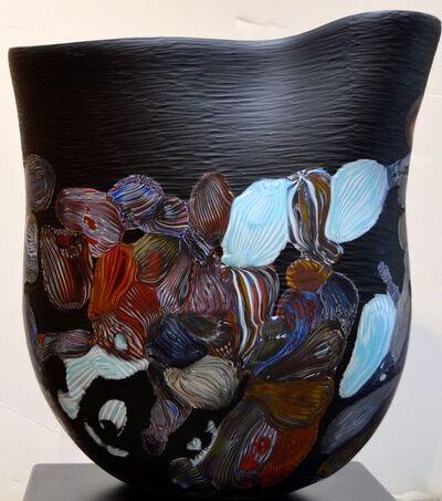 Massimiliano Schiavon, 'Untitled - Murano Glass Vessel in Black with Colored Organic Forms ', 2014