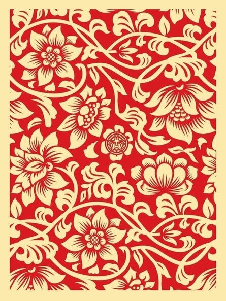 Shepard Fairey, 'Floral takeover cream red', 2017