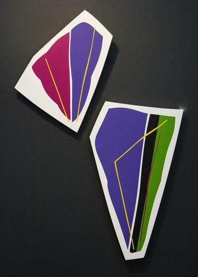 Aron Hill, 'Purple and Magenta 1 & 2 - colourful, gold leaf edge, acrylic on shaped panel', 2017