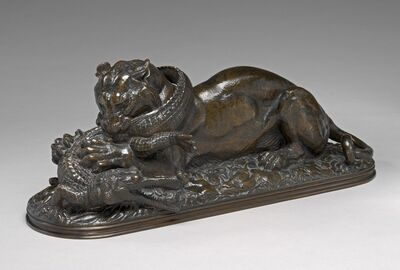 Antoine-Louis Barye, 'Tiger Devouring a Gavial of the Ganges', model 1831