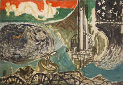 Paul Resika, 'Panorama of the Hudson (Mermaid and the Factory)', 1948