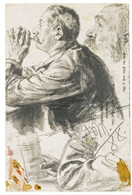 Adolph Menzel, 'Studies of Figures in Profile', 1888