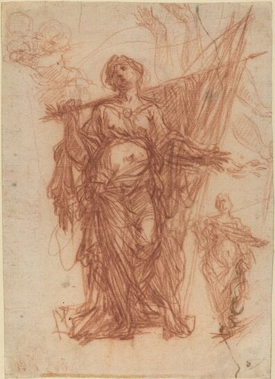 Baldassare Franceschini, 'Female Saint Carrying a Banner [recto]'