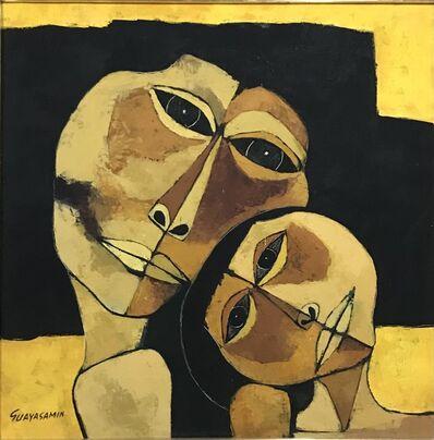 Oswaldo Guayasamín, 'Madre y niño con fondo amarillo ', 1989