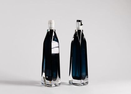 Carl Fagerlund, 'Pair of Blue Glass Table Lamps', 1960