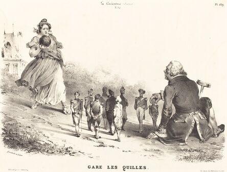 Jean-Ignace-Isidore Grandville, 'Gare les Quilles', 1830s