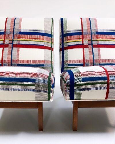 Jens Risom, 'Walnut Slipper Chairs in Hermès Wool, pair', c. 1960s