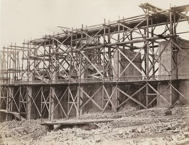 Édouard Baldus, 'Construction of a Viaduct on Rail Line of Chemin de Fer Paris-Marseille', 1853-1854